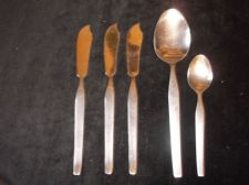 5 PC VINTAGE SHEFFIELD STAINLESS STEEL CUTLERY FISH & SPOONS VINERS PROFILE